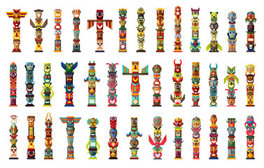 Totem vector cartoon set icon. Vector illustration set tribal mask. Isolated cartoon icon traditional totem on white background .