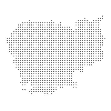 Cambodia map dotted, grey point, on white background.