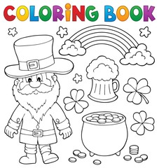 Photo sur Aluminium Enfants Coloring book St Patricks Day set 1
