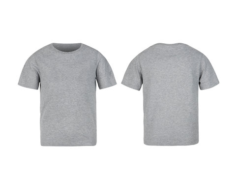 Grey kids t-shirt front and back mock-up isolated on white background with clipping path.