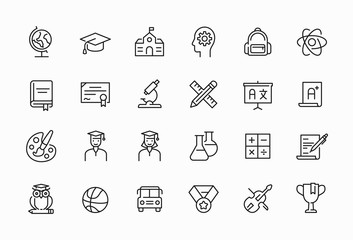 Poster Owls cartoon Education related minimal thin line icon set. Editable stroke symbol.