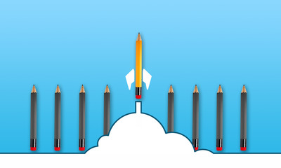 Pencils metaphor for rocket start up and business