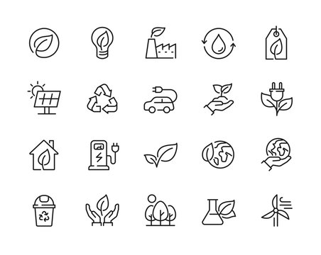 Eco friendly related thin line icon set in minimal style. Linear ecology icons. Environmental sustainability simple symbol. Editable stroke