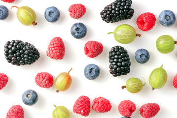 Wall Mural - collection of berries isolated on white background
