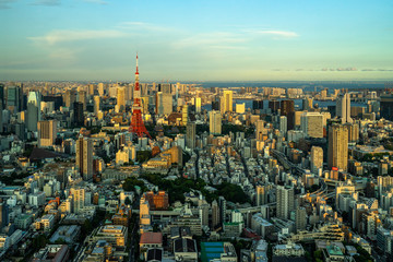 Beautiful aerial view of Tokyo at sunset seen from Mori Tower Observation deck, Japan