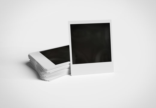 Stack of instant photos on white surface 3D rendering