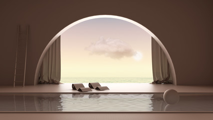 Türaufkleber Schokobraun Imaginary fictional architecture, interior design of empty space with arched window with curtain, concrete rosy walls, swimming pool with chaise longue, sunrise sunset sea panorama