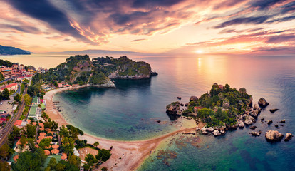 Papiers peints Ile View from flying drone. Attractive morning view of Bella island. Exotic spring seascape of Mediterranean sea. Fantastic sunrise in Mazzaro' town, Sicily, Itale, Europe.