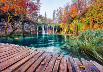 Foto op Aluminium Herfst Incredible morning view of pure water waterfall in Plitvice National Park. Calm autumn scene of Croatia, Europe. Beauty of nature concept background.