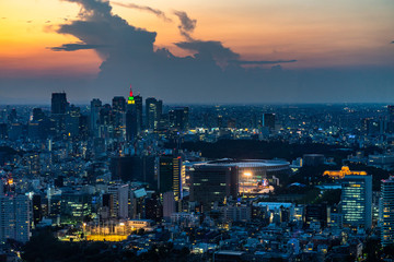 Tokyo skyline and skyscrapers at sunset viewed from Mori Tower observation deck, Japan
