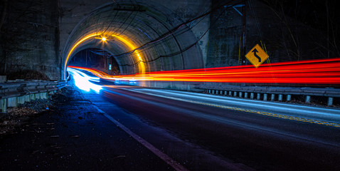 Wall Murals Night highway tunnel lights