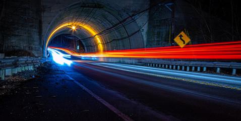 Canvas Prints Night highway tunnel lights