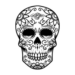 Vintage mexican sugar skull isolated on white background. Day of the dead theme. Design element for logo, label, sign, poster. Vector illustration