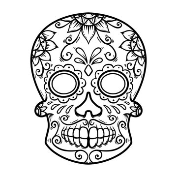 Vintage mexican sugar skull isolated on white background. Design element for logo, label, sign, poster. Vector illustration
