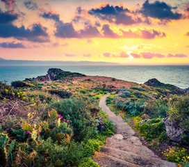 Foto auf Gartenposter Gelb Schwefelsäure Gorgeous spring view of Milazzo cape. Colorful sunset on nature reserve Piscina di Venere, Sicily, Italy, Europe. Picturesque evening seascape of Mediterranean sea.