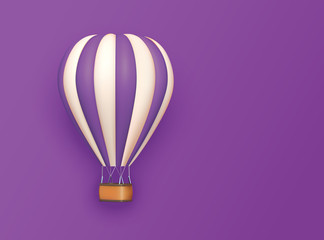 Hot air balloon violet white stripes, colorful aerostat on violet background. 3d photo realistic vector illustration