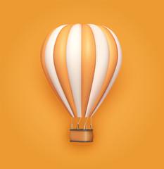 Hot air balloon orange white stripes, colorful aerostat on orange background. 3d photo realistic vector illustration
