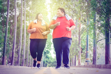 Fat couple jogging happily in a park at sunny day