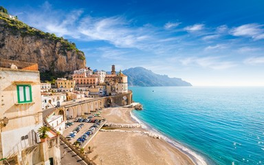 Photo sur Aluminium Europe Méditérranéenne Small town Atrani on Amalfi Coast in province of Salerno, in Campania region of Italy. Amalfi coast is popular travel and holyday destination in Italy.