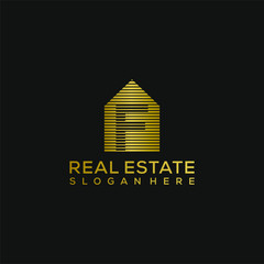 letter F house template. real estate luxury logo design