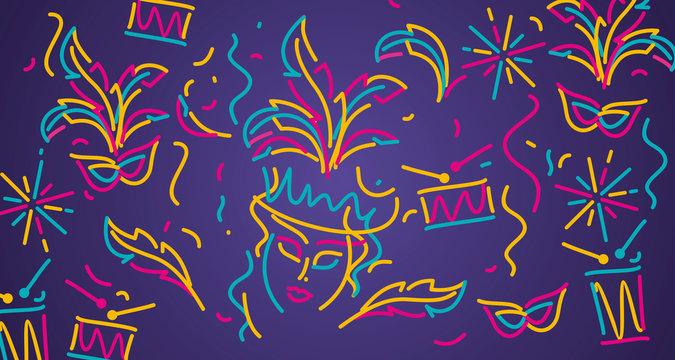 Carnival 2020 colorful line design carnival object elements purple background