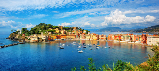 Sestri Levante, Italy, a popular resort town in Liguria
