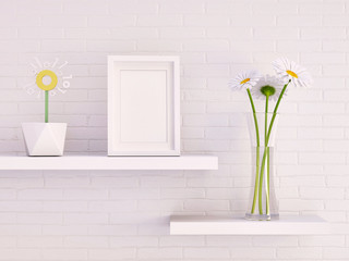 Mock up picture frame and white gerbera daisies in glass vase with digital flower in a pot against white brick wall 3d rendering