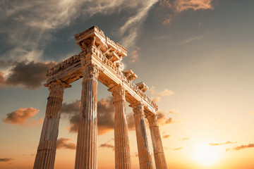 Poster Bedehuis Amazingly Temple of Apollon ancient ruins. Apollon temple in Side antique city, Antalya, Turkey.