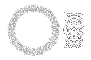 Wreath with crystals for adult coloring book