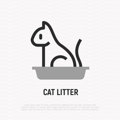 Cat litter thin line icon. Modern vector illustration for pet shop.