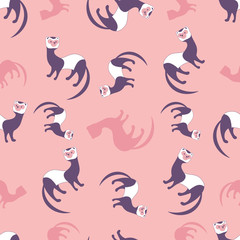 Seamless pattern of cute cartoon style ferret on colorful background