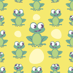 Seamless pattern of cute cartoon style frog on colorful background