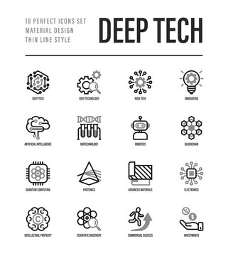 Deep tech thin line icons set. Symbols of ai, innovation, intellectual property, scientific discovery, investment,  quantum computing, photonics, blockchain, robotics. Vector illustration.