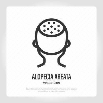 Areata alopecia thin line icon. Hair loss. Bald place on scalp. Vector illustration.
