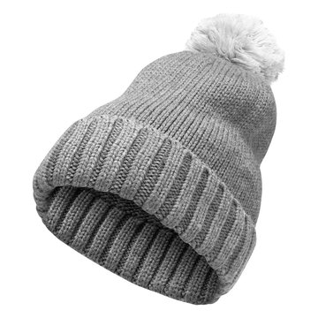 Winter gray woolen hat with a pompom isolated on a white background. Fashionable womens hat