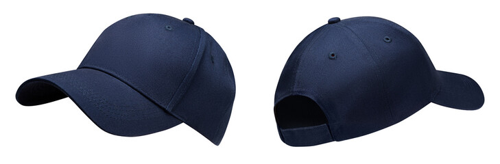 Blue baseball cap in angles view front and back. Mockup baseball cap for your design
