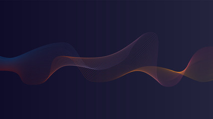 Poster Abstract wave Sound wave in gradient dark blue background. Use for modern design, cover, template, decorated, brochure, flyer.