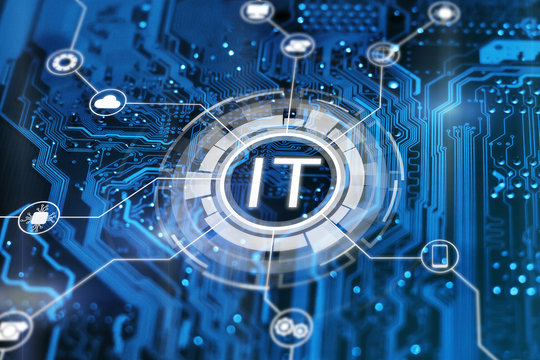 IT. Information technology concept. Motherboard integrated circuit and tech icons illustrtion. Futuristic bakground.