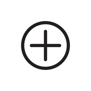 Add icon. Add a new item. Plus or positive symbol. Black vector.