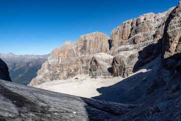View of the mountain peaks Brenta Dolomites. Trentino, Italy