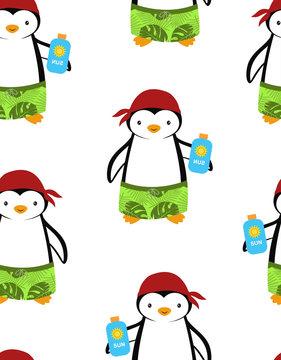 cartoon pattern with penguins, summer print