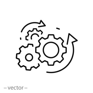 process management icon, optimization operation, fix strategy industry, transmission gear wheel,  thin line web symbol on white background - editable stroke vector illustration eps10