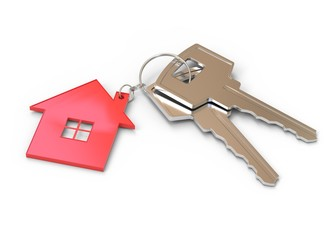 House and keys on white background 3d rendering