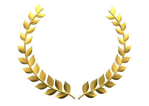 Golden laurel wreath 3d rendering