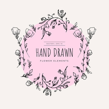 Hand Drawn Minimalistic and Floral Template for photographer, fashion blogger, design studio, interior design. Branding identity collection . Floral feminine element. flowers clipart