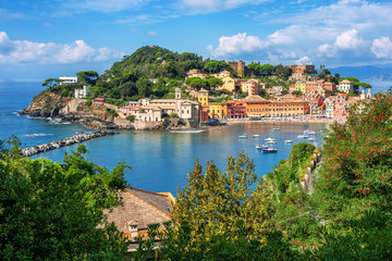 Wall Mural - Bay of Silence and Sestri Levante Old town, Italy