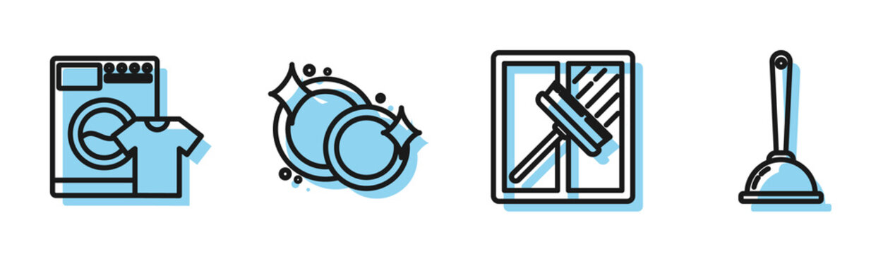 Set line Squeegee, scraper, wiper, Washer and t-shirt , Washing dishes and Toilet plunger icon. Vector