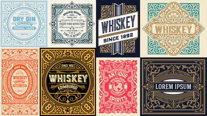 Mega set of 8 vintage cards. Vector layered