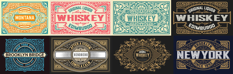 Foto auf AluDibond Retro Mega set of 8 vintage labels. Vector layered