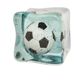 Soccer ball frozen in ice cube, 3D rendering